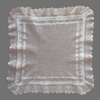 Antique Hankie or Square Tray Doily Fine All Over Drawn Work Barmen Lace Frame