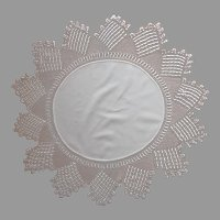 Antique Centerpiece Doily Table Round Pointed Crocheted Lace A Bit TLC