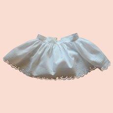 Baby Petticoat Antique Short Eyelet Lace Tucks White Cotton