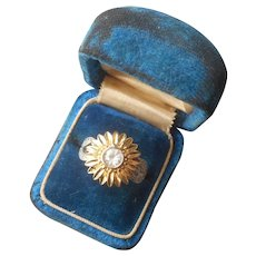 Vermeil Sunflower Ring Sterling Silver Gold Plating CZ Size 7