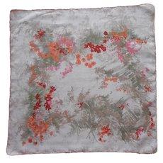 1950s Hankie Printed Linen Greenery Flowers Fences Gates Vintage