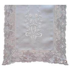 Linen Lace Runner Vintage A Bit TLC Flower Baskets Embroidery Cutwork