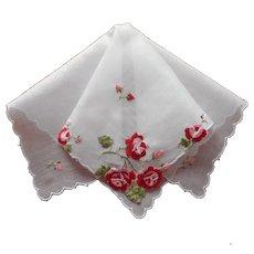 Unused Vintage Swiss Hankie Red Pink Roses Embroidery Cotton