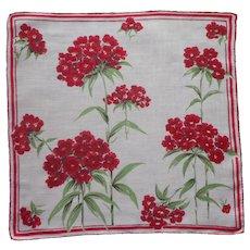 Vintage Hankie Linen Printed Red Phlox Flowers Handkerchief