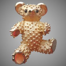 Boucher Teddy Bear Pin Vintage Textured And Shiny