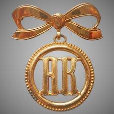 Monogram A.K or K.A. Monocraft Pin Vintage Bow Form Dangle