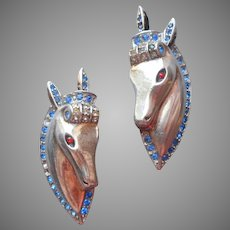 1940s Sterling Silver Pair Horse Head Pins Vintage Need A Bit Of TLC