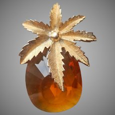 Sarah Coventry Pin Amber Or Citrine Colored Glass Stone Pineapple