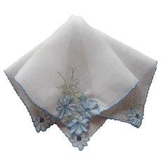 Madeira Hankie Attached Petals Cornflowers Vintage Hand Embroidered