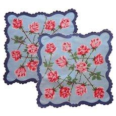 Pair Vintage Hankies Hankie Printed Cotton Blue w Pink Red Roses