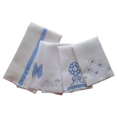 Towels All With Blue 1910s to 1950s Vintage Antique A Few TLC Hotel Embroidery