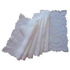Madeira Runner All White Hand Embroidered Scalloped 58 x 15