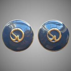 St. John Dark Blue Enamel Logo Earrings Clip Large Round