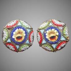 Italian Mosaic Earrings Vintage Clip Italy