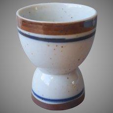 Salem Georgetown Egg Cup Vintage Pottery Speckled Brown Blue