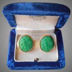Faux Carved Jade Earrings Vintage Pierced Molded Glass