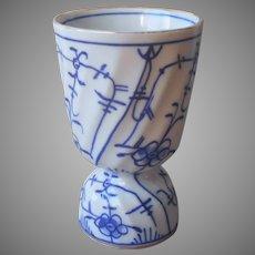 Egg Cup Large Blue Onion Variant Antique Blue White Porcelain