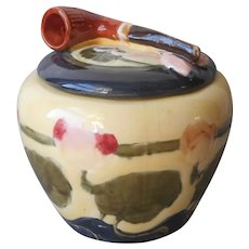Humidor Jar Tobacco Art Nouveau Antique Majolica Water Lilies Figural Pipe