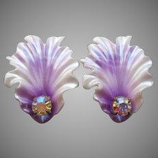 Orchid Petal Earrings Vintage Clip Plastic Purple AB Rhinestone