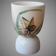 Victorian Milk Glass Egg Cup Antique Hand Painted Butterfly Grasses