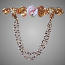1928 Jewelry Co.  Company Pin Pink Rose Faux Seed Pearls Vintage