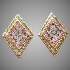 Pastel Rhinestones Clip Earrings Vintage Diamond Shaped Gold Tone