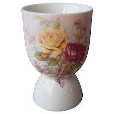 Antique Egg Cup Roses Pink Yellow ca 1900 China