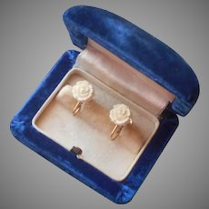 Petite Gold Filled Screw Back Earrings Vintage Carved Bone Roses