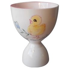 Baby Chick Says Good Morning Egg Cup Pink Vintage China
