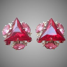 Beaujewels Red Pink Rhinestone Clip Earrings Vintage Beau Jewels