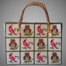 Needlepoint Cardinals Owls Tote Style Purse Vintage Owl Cardinal Birds