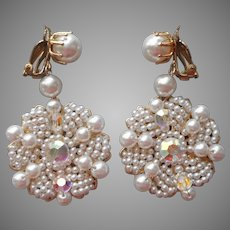 Wired Beads Filigree Faux Pearls Big Dangle Clip Earrings