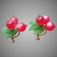 Lucite Moonglow Berries Earrings Vintage Screw Back Plastic Leaves