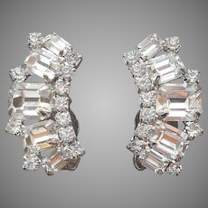 Curved Emerald Cut Rhinestone Earrings Vintage Clip
