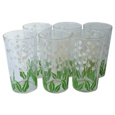 Lily Of The Valley Tumblers Set 6 Vintage Glasses Green White
