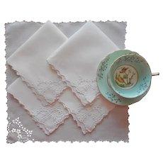 Tea Napkins Antique 5 Hand Embroidered Cutwork Linen TLC