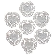 Tea Cup Doilies 7 Heart Shaped Bobbin Lace Hand Embroidery Vintage