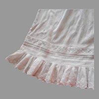 Antique Skirt White Dotted Swiss ca 1900 Whitework Flounce Trim Edwardian