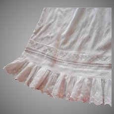Antique Skirt White Dotted Swiss ca 1900 Whitework Flounce Trim Edwardian