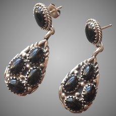 Onyx Sterling Silver Drop Cluster Earrings Pierced Vintage Native American