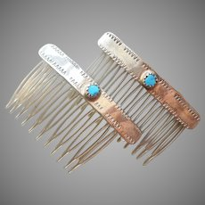 Sterling Silver Turquoise Hair Side Combs Petite Native American Vintage