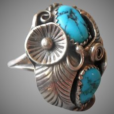 Sterling Silver Turquoise Native American Ring Vintage 7 Moonflowers Leaves
