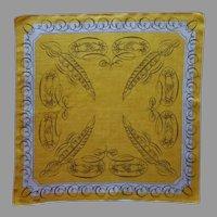 Tammis Keefe Hankie Handkerchief Calligraphy Hands Olive Gray Linen Print