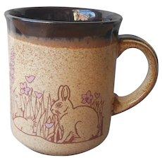 1970s England Bunnies Foxglove Hearts Mug Vintage Kiln Craft Stoneware
