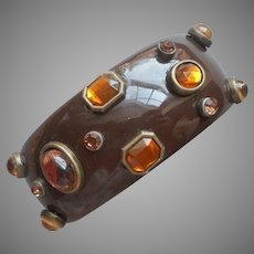 Brow Plastic Wide Hinged Cuff Bracelet Amber Colored Plastic Stones