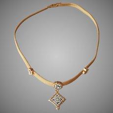 Mesh Necklace Faux Diamonds Drop Rhinestones Vintage Avon