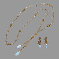 Long Y Drop Necklace Pierced Earrings Avon Amber Opal Glass Vintage