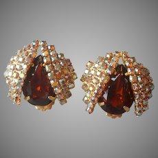 Topaz Brown Glass Stones AB Rhinestones Earrings Clip Vintage