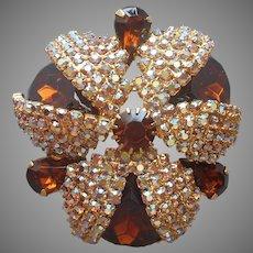 Topaz Brown Glass Stones AB Rhinestones Big Pin Vintage