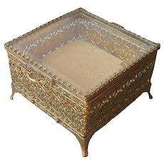 Cherubs Ormolu Filigree Jewelry Casket Box Square Ornate Metal Glass Vintage
